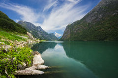 Nära Briksdalsbreen i Norge royaltyfri foto