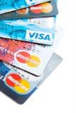 Nära foto av kreditkortar Royaltyfria Bilder