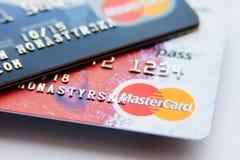 Nära foto av kreditkortar Arkivfoton