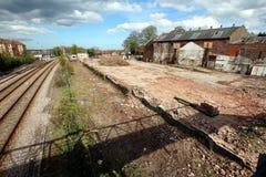 Nära järnvägsspår Driffield östliga Yorkshire Arkivfoto