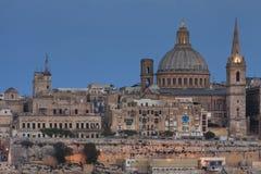 Nära sikt av den medeltida staden av La Valletta Royaltyfria Foton