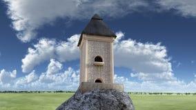 Nära sikt av ettberättelse torn på stenen Royaltyfri Bild