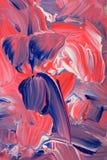 Nära sikt av livlig blå röd vit paintstrokese kanfas Arkivbilder