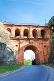 Nära sikt av Schloss Erbaut Bruecke, Luxembourg Arkivfoton