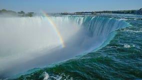 Nära unabstracted sikt av den Niagara Falls klippkanten från kanadensisk sida royaltyfri fotografi