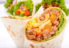Nära upp till burrito Royaltyfri Foto