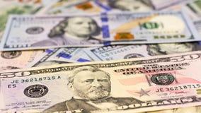 Närbild av amerikansk dollarpengarbakgrund Fotografering för Bildbyråer