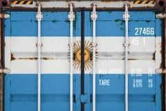 Närbild av behållaren med nationsflaggan royaltyfria foton