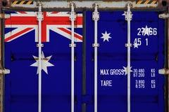 Närbild av behållaren med nationsflaggan fotografering för bildbyråer
