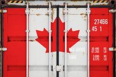 Närbild av behållaren med nationsflaggan arkivbild