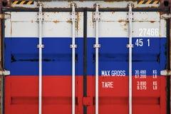 Närbild av behållaren med nationsflaggan arkivbilder