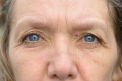 Närbild av blåa ögon av den mellersta ålderkvinnan arkivbild