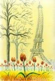 Närbild av blommande tulpan i den Trocadero fyrkanten i Paris Fotografering för Bildbyråer