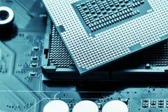 Närbild av CPU Chip Processor Selektivt fokusera arkivfoto
