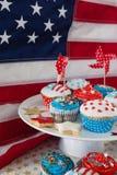 Närbild av dekorerade muffin med 4th det juli temat Royaltyfria Foton