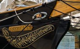 Närbild av den Amerika 2 skonaren, Key West, Florida, USA Fotografering för Bildbyråer