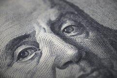 Närbild av den Ben Franklin 100 dollarräkningen Royaltyfria Foton