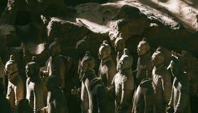 Närbild av den berömda terrakottaarmén av krigare i Xian, Kina royaltyfria foton