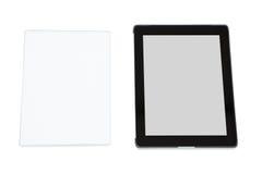 Närbild av den futuristiska digitala minnestavlan och den digitala minnestavlan Arkivbild