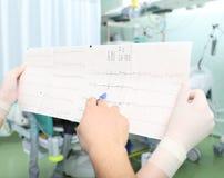 Närbild av den interpretive kardiogrammet för två doktorer av patienten royaltyfri fotografi