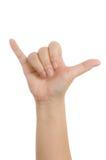 Närbild av den kvinnliga handen som gör en gest, medan isolerat på vit Royaltyfri Fotografi