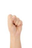 Närbild av den kvinnliga handen som gör en gest, medan isolerat på vit Royaltyfri Bild