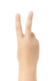 Närbild av den kvinnliga handen som gör en gest, medan isolerat på vit Fotografering för Bildbyråer
