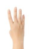 Närbild av den kvinnliga handen som gör en gest, medan isolerat på vit Royaltyfri Foto