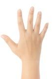 Närbild av den kvinnliga handen som gör en gest, medan isolerat på vit Royaltyfria Foton