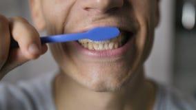 Närbild av den manliga munnen som borstar tänder stock video