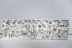 Närbild av den Medea sarkofaget (140 BCE) i det Altes museet, Ber Arkivfoton