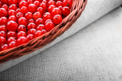 Närbild av den röda vinbäret i en brun korg Den ljusa spjällådan på ett grått stycke av torkduken med den röda vinbäret Läcker st Royaltyfri Fotografi