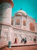 Närbild av den Taj Mahal tapeten royaltyfri foto
