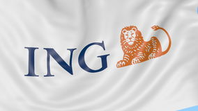 Närbild av den vinkande flaggan med ING-grupplogoen, sömlös ögla, blå bakgrund, redaktörs- animering 4K ProRes arkivfilmer