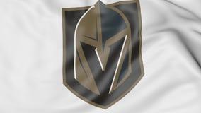 Närbild av den vinkande flaggan med logo för hockeylag för Vegas guld- riddareNHL Redaktörs- tolkning 3D vektor illustrationer