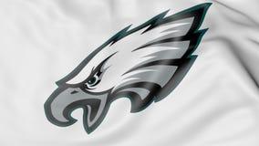 Närbild av den vinkande flaggan med logoen för fotbollslag för Philadelphia EaglesNFL den amerikanska, tolkning 3D royaltyfri illustrationer