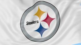 Närbild av den vinkande flaggan med logoen för fotbollslag för Pittsburgh SteelersNFL den amerikanska, sömlös ögla, blå bakgrund royaltyfri illustrationer