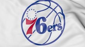Närbild av den vinkande flaggan med logoen för Philadelphia 76ers NBA-basketlag, tolkning 3D stock illustrationer