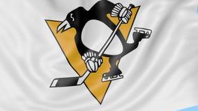 Närbild av den vinkande flaggan med logoen för Pittsburgh PenguinsNHL-hockeylag, sömlös ögla, blå bakgrund ledare royaltyfri illustrationer