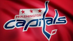 Närbild av den vinkande flaggan med logoen för Washington Capitals NHL-hockeylag, sömlös ögla Redaktörs- animering vektor illustrationer