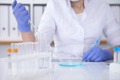 Närbild av den yrkesmässiga kvinnliga forskaren i skyddande glasögon som gör experiment med agens i laboratorium Royaltyfri Foto