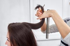 Närbild av en frisör som klipper håret av en kvinna royaltyfri bild