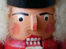 Närbild av en ilskna seende Nussknacker royaltyfri foto