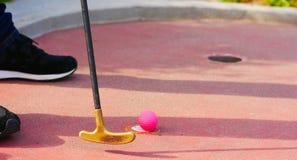 Närbild av en miniatyrgolfputter och en rosa golfboll arkivbilder