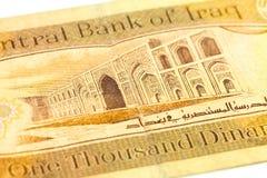 Närbild av en omvänd enkel 1000 sedel för irakisk dinar arkivbilder
