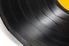 Närbild av en svart retro rekord- yttersida arkivfoton