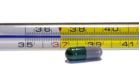 Närbild av en termometer med en kapsel Arkivbild