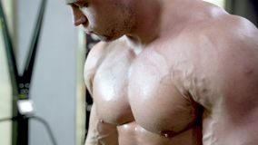 Närbild av en ung muskulös man som gör övningar med hantlar arkivfilmer