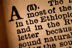 Närbild av ett A, den 1st bokstaven av det latinska alfabetet Royaltyfria Bilder