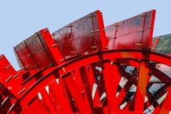 Närbild av ett rött skovelhjul Royaltyfri Foto
